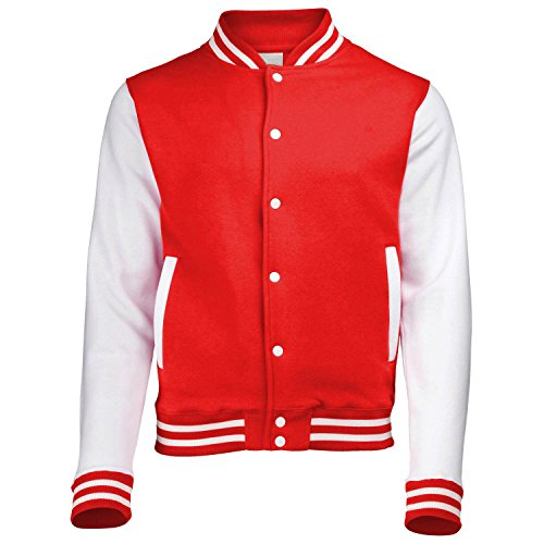 Mojessy Women's Slim Fit Baseball Varsity Bomber Jacket Coat Outwear Large Red
