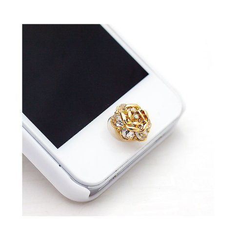 HuaYang Crystal Rhinestone Rose Shape Home Button Key Sticker Paster For iPhone 4S 4 5 5G iPod Touch iPad Mini 3(White)