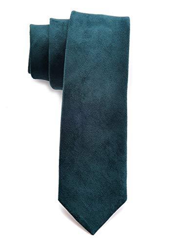(Men's Solid Color Skinny Ties Causal Wool Cashmere Blend Slim cut Formal Necktie (One Size, Dark Green))