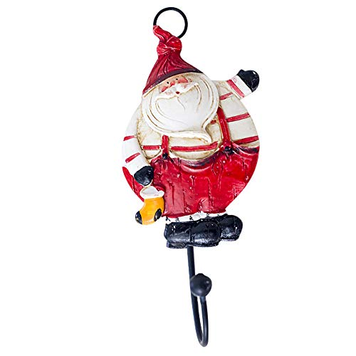 Kimanli Sucker Santa Claus Creative Wall Decoration Hooks Kitchen Bedroom Wall Holder Strong Suction Cup Hooks Hanger Bathroom 3D Cartoon Cute Hooks (Red)