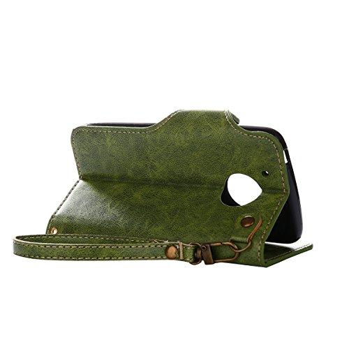MEIRISHUN Leather Wallet Case Cover Carcasa Funda con Ranura de Tarjeta Cierre Magnético y función de soporte para Motorola Moto G5 - Rosado Verde