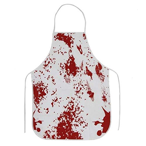 Unpara 2018 Horror Bloody Aprons Halloween Blood Handprint Pattern Props Horrifying Costume (White) -