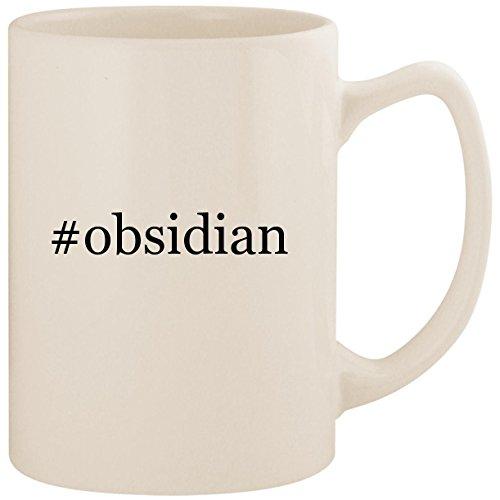 #obsidian - White Hashtag 14oz Ceramic Statesman Coffee Mug Cup ()