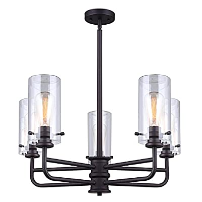 "Canarm ICH679A05ORB Albany 5 Light Rod Chandelier with Clear Glass - Size: 24"" W x 19 1/2"" - 42 1/2"" H Chandelier 5 x 60W A bulbs - kitchen-dining-room-decor, kitchen-dining-room, chandeliers-lighting - 41YcruatzWL. SS400  -"