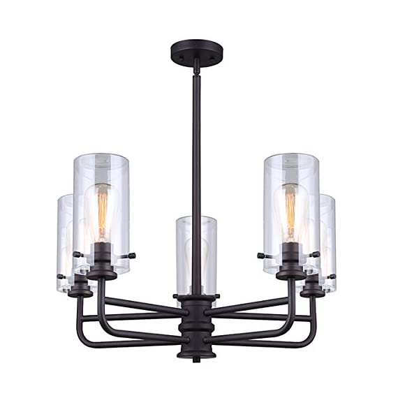 "Canarm ICH679A05ORB Albany 5 Light Rod Chandelier with Clear Glass - Size: 24"" W x 19 1/2"" - 42 1/2"" H Chandelier 5 x 60W A bulbs - kitchen-dining-room-decor, kitchen-dining-room, chandeliers-lighting - 41YcruatzWL. SS570  -"