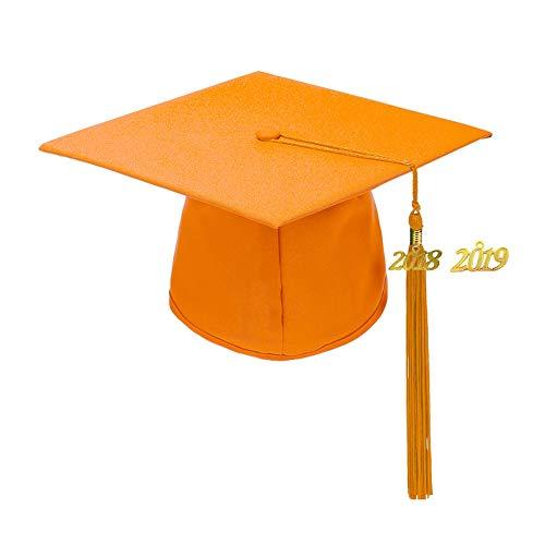 - Annhiengrad Unisex Adult Matte Graduation Cap with Tassel 2018&2019,Orange,Adjustable