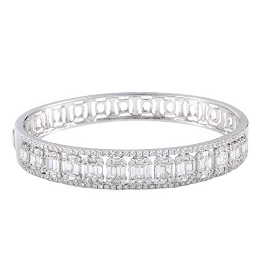 Bracelet Diamond Baguette Bangle (Odelia 18K White Gold Round and Baguette Diamonds Bangle Bracelet)