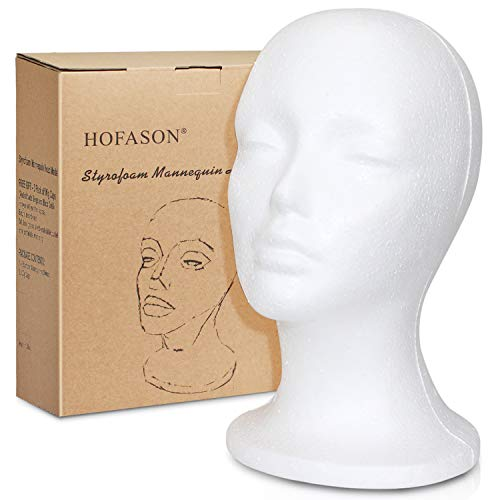 - Styrofoam Wig Head Mannequin and 3Pack Elastic Wig Caps - Foam Manikin Head Style Model & Display Women's Wigs, Hats & Hairpieces Stand - 11 Inch Female Head and 3pcs Wig Caps