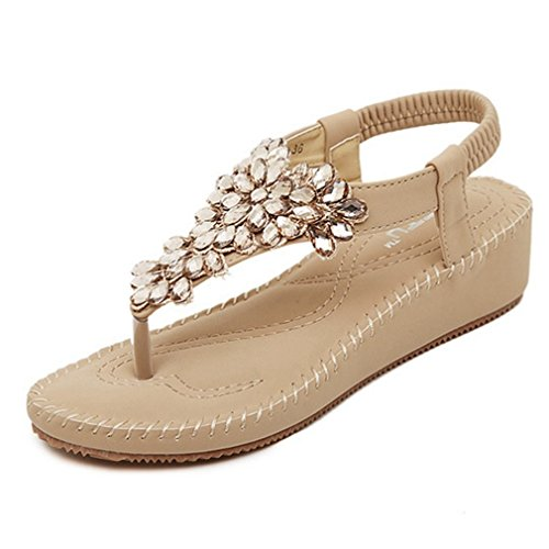 Cybling Moda Low Heels Correa Elástica Beach Wedge Sandalias Zapatos Para Mujer Marrón