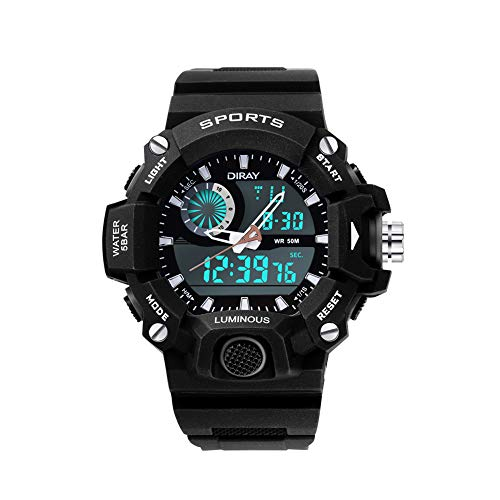 DIRAY Mens Digital Analog Watch Dual Display Watches for Men Chronograph Water Resistant Electronic Wristwatch