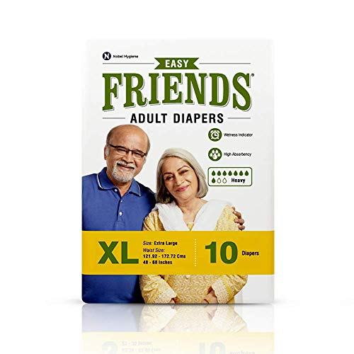 Friends Easy Adult Diapers Tape Style – 10 Count (Extra Large) with odour lock and Anti-Bacterial Absorbent Core- Waist…