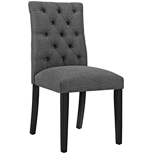 Modway Duchess Modern Elegant Button-Tufted Upholstered Fabric Parsons Dining Side Chair in Gray by Modway