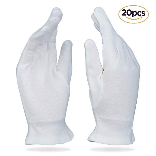 Beauty Care Wear Medium White Cotton Gloves for Eczema, Dry Skin, Moisturizing - 20 Gloves