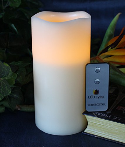 Flickering Flameless Pillar Candle with Remote - Battery Operated Candles, ONE Ivory Wax and Amber Yellow Flame by LED Lytes
