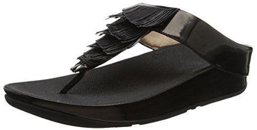 Fitflop Cha Fringe Toe-Thong Sandals, Sandalias con Punta Abierta Para Mujer Black (Black)
