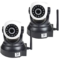 VideoSecu 2 Pack Wireless Baby Monitor Pan Tilt Network IP Security Cameras with Remote View Video Audio Day Night Vision AF4