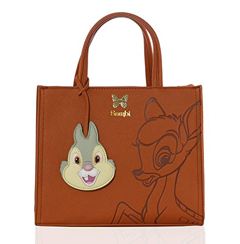 Loungefly Disney Bambi Crossbody Tote with Thumper Charm, Embossed Brown on Brown with Gold Details
