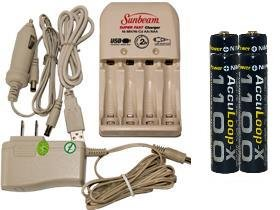 Battery Charger 3Hr For Aa/Aaa & 12V Car Plug & 4 Aaa 1100 Mah Acculoop-X Batteries (Low Discharge)