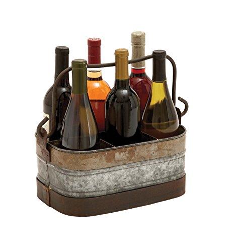 Benzara Galvanized Wine Holder with Six Compartments