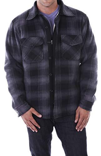 (Woodland Supply Co. Men's Heavy Warm Fleece Sherpa Lined Zip Up Jacket (Medium, Black/Dark Grey))