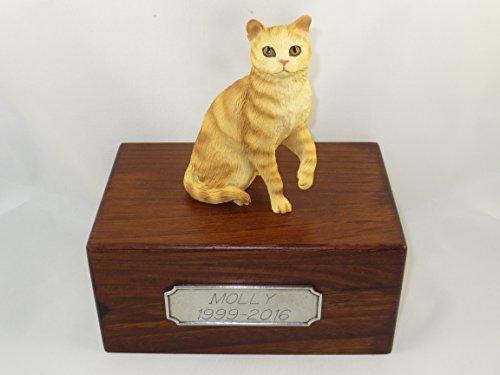 Beautiful Paulownia Small Wooden Urn with Shorthair Red Tabby Figurine & Personalized Pewter Engraving ()