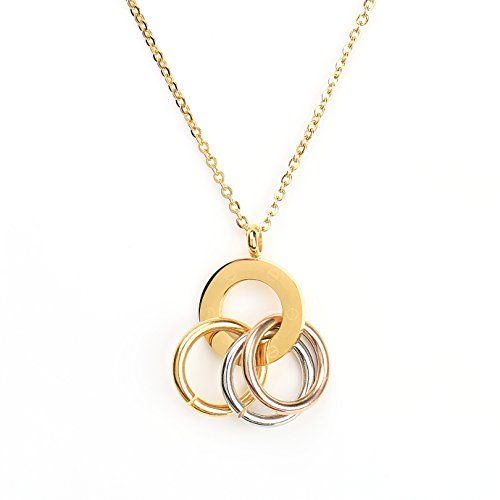 Stylish Gold Tone Designer Necklace with Circular Pendant, Contemporary Screw Design and Tri-Color Interlocking Eternity Rings (160057)