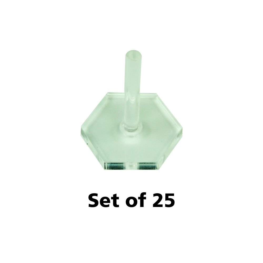 Acrylic Flight Stands, 20mm Hexagon, 3mm Clear, 1 inch Peg (25)