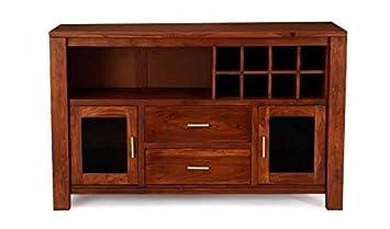 Aprodz Sheesham Wood Wine Storage Eradu Stylish Bar Cabinet for Living Room | Honey Finish