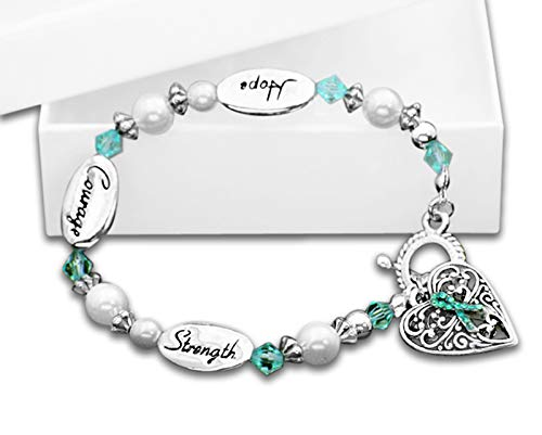 Ovarian Cancer Awareness Hope, Courage, Strength Heart Charm Bracelet in a Gift Box