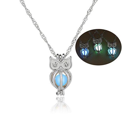 Meolin Luminous Hollow Necklace Gift Luminous Pendant Fluorescent Necklace,Blue Green Owl,L?45cm/2.11.1cm -