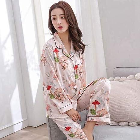 HAOLIEQUAN Primavera Otoño Mujeres Satén Pijama Establece Manga ...
