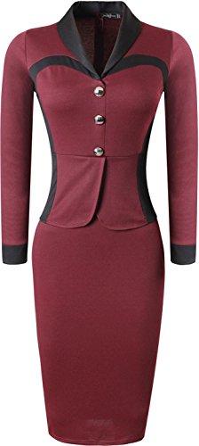 Jeansian Mujer Elegant Solapa Collar V Neck Long Sleeve Bodycon Pencil Negocio Vestidos Slim Dress Oficina Lady WKD298 WineRed