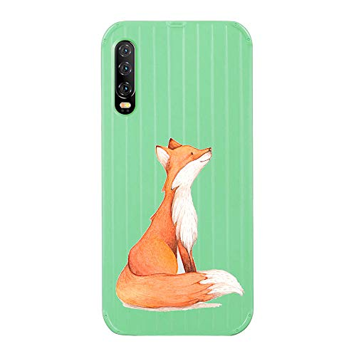 Fantasydao Compatible with Huawei Nova 5,Ultra Thin & Light Slim Case Cute Luggage Stripe Pattern Tempered Glass Back Cover + Soft TPU Frame Protection Bumper Shell for Huawei Nova 5(Green+Fox)