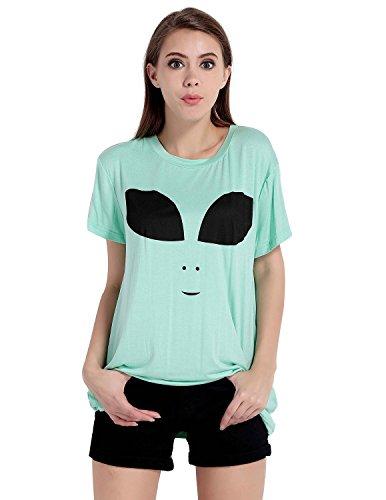 Foreverlove Womens Cute Tie Dye Alien Hipster Indie Swag Short Sleeve T-Shirts