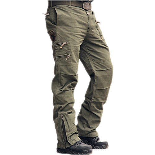 sunsnow Men's 101 Airborne Cargo Pants Multi-Pockets Outdoor Sport Military Pants (30, Army Green)
