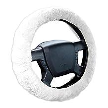 Zone Tech Plush Genuine Sheepskin Stretch-on Steering Wheel Cover-white