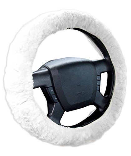 Zone Tech Luxurious Non-slip Car Decoration Steering Wheel Plush Cover - White Authentic Sheepskin Thermal Steering Wheel Cover