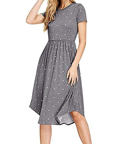 PALINDA Women's Summer Short Sleeve Pleated Polka Dot Swing Midi Dress with Pockets (Dark Grey,XXL) (Xxl Midi Dress)