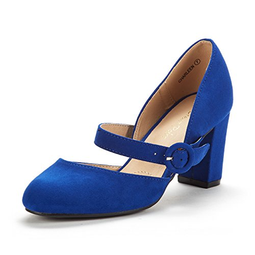 (DREAM PAIRS Women's Charleen Royal Blue Classic Fashion Closed Toe High Heel Dress Pumps Shoes Size 9.5 M)