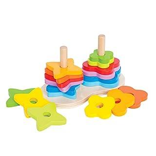 Award Winning Hape Double Rainbow Stacker Wooden Ring Set Toddler Game