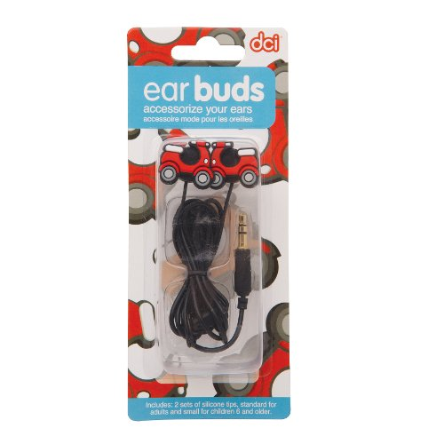 DCI Scooter Earbuds for 3.5mm Socket - Retail Packaging - Red/Black