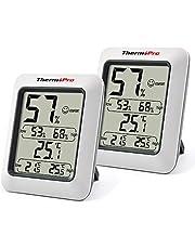 ThermoPro TP50 Digitale Thermo-hygrometer Binnen Thermometer Thermometer Hygrometer Temperatuur en Luchtvochtigheidsmeter, set van 2 voor controle van het binnenklimaat