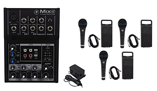Mackie Mix5 Compact 5-Channel PA Mixer+(3) Microphones+(3) XLR Cables by Mackie