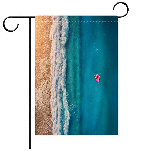 - Garden Flag double-sided printing,Aerial view of young woman swimming on the pink swim ring in the transparent turquoise sea in Oludeniz Summer seascape Best for Party Yard and Home Outdoor Decor