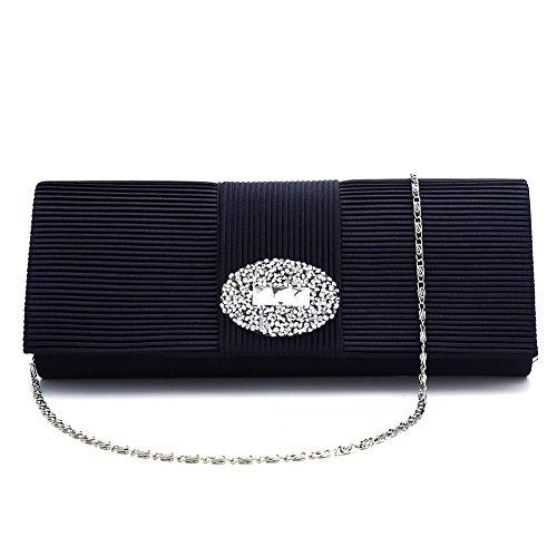 Ladies Designer Pleated Satin Wedding Evening Bags Formal Clutch Purse Crystal Evening Handbag for Women (Purplish blue) by CAMUSX