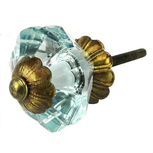 Arctic Blue Glass Cabinet Knobs, Dresser Drawer & Handles Set/8pc ~ K187FF Art Deco Glass Knobs w/Antique Brass Florentine Hardware for Armoire, Kitchen Cabinets, Cupboards, and Second Hand Furniture Art Deco Cabinet Knobs