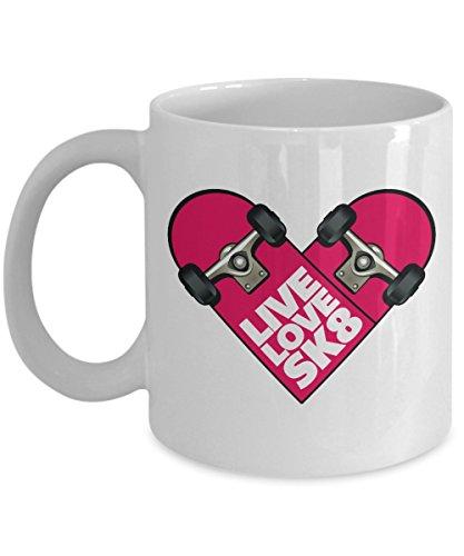 Live Love Sk8 Pink Heart Shaped Skateboard Coffee & Tea Gift Mug For Youth & Women