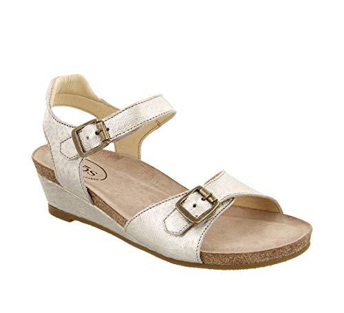 Taos Footwear Women's Traveler Silver Floral Embossed Sandal 5 M US