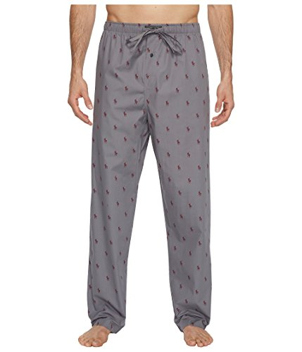 Ralph Lauren Mens Pajamas - Polo Ralph Lauren Men's All Over Pony Sleep Pants Marine Grey/Classic Wine Medium