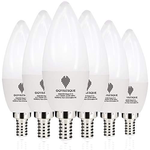 Goyaesque C37 LED Candelabra Light Bulb 6W Chandelier Non Dimmable 5000K Daylight Fan Light Bulb,Pack of 6 (5000K) ()